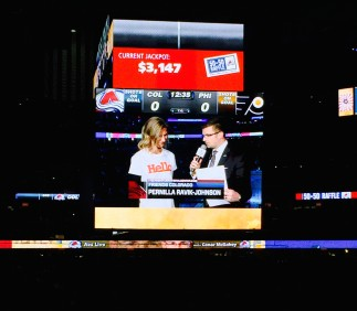 Pepsi Center Jumbotron Pernilla interview 1