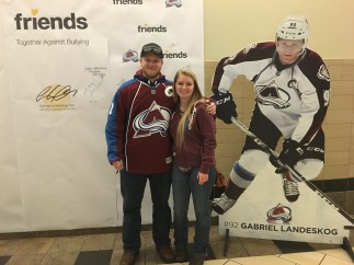 Winner of Avs Jersey signing Friends Pledge Wall at Pepsi Center